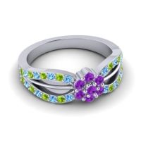 Simple Floral Pave Kalikda Amethyst Ring with Peridot and Swiss Blue Topaz in Platinum