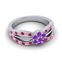 Simple Floral Pave Kalikda Amethyst Ring with Pink Tourmaline and Ruby in Platinum