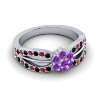 Simple Floral Pave Kalikda Amethyst Ring with Ruby and Black Onyx in 14k White Gold
