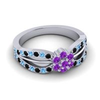 Simple Floral Pave Kalikda Amethyst Ring with Swiss Blue Topaz and Black Onyx in 18k White Gold