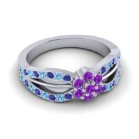 Simple Floral Pave Kalikda Amethyst Ring with Swiss Blue Topaz and Blue Sapphire in Platinum