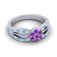 Simple Floral Pave Kalikda Amethyst Ring with Swiss Blue Topaz and Diamond in Platinum