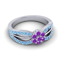 Simple Floral Pave Kalikda Amethyst Ring with Swiss Blue Topaz in Palladium