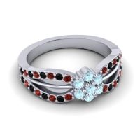 Simple Floral Pave Kalikda Aquamarine Ring with Black Onyx and Garnet in 18k White Gold