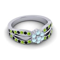 Simple Floral Pave Kalikda Aquamarine Ring with Black Onyx and Peridot in 14k White Gold