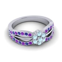Simple Floral Pave Kalikda Aquamarine Ring with Blue Sapphire and Amethyst in Palladium