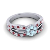 Simple Floral Pave Kalikda Aquamarine Ring with Diamond and Ruby in Platinum