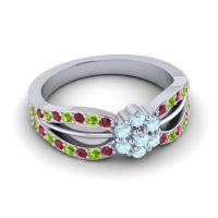 Simple Floral Pave Kalikda Aquamarine Ring with Peridot and Ruby in Palladium