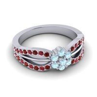 Simple Floral Pave Kalikda Aquamarine Ring with Ruby and Garnet in 18k White Gold