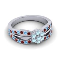 Simple Floral Pave Kalikda Aquamarine Ring with Swiss Blue Topaz and Garnet in Platinum