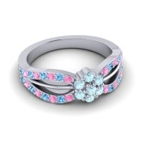Simple Floral Pave Kalikda Aquamarine Ring with Swiss Blue Topaz and Pink Tourmaline in 14k White Gold