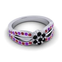 Simple Floral Pave Kalikda Black Onyx Ring with Amethyst and Ruby in 18k White Gold