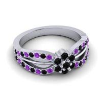 Simple Floral Pave Kalikda Black Onyx Ring with Amethyst in Platinum