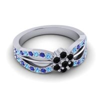 Simple Floral Pave Kalikda Black Onyx Ring with Blue Sapphire and Swiss Blue Topaz in Platinum