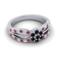 Simple Floral Pave Kalikda Black Onyx Ring with Diamond and Ruby in 14k White Gold
