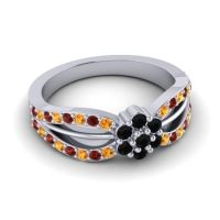 Simple Floral Pave Kalikda Black Onyx Ring with Garnet and Citrine in 14k White Gold