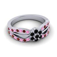 Simple Floral Pave Kalikda Black Onyx Ring with Garnet and Pink Tourmaline in Platinum