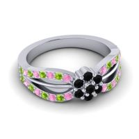 Simple Floral Pave Kalikda Black Onyx Ring with Peridot and Pink Tourmaline in 18k White Gold