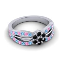 Simple Floral Pave Kalikda Black Onyx Ring with Pink Tourmaline and Swiss Blue Topaz in Palladium