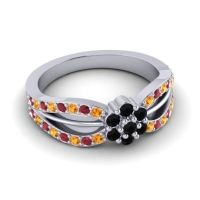 Simple Floral Pave Kalikda Black Onyx Ring with Ruby and Citrine in Palladium