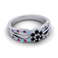 Simple Floral Pave Kalikda Black Onyx Ring with Ruby and Swiss Blue Topaz in Platinum