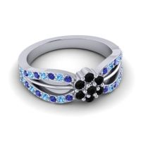 Simple Floral Pave Kalikda Black Onyx Ring with Swiss Blue Topaz and Blue Sapphire in 18k White Gold