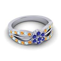 Simple Floral Pave Kalikda Blue Sapphire Ring with Aquamarine and Citrine in Palladium