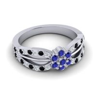 Simple Floral Pave Kalikda Blue Sapphire Ring with Black Onyx and Diamond in Platinum