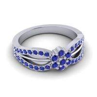 Simple Floral Pave Kalikda Blue Sapphire Ring in Platinum
