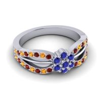 Simple Floral Pave Kalikda Blue Sapphire Ring with Citrine and Garnet in 14k White Gold
