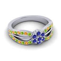 Simple Floral Pave Kalikda Blue Sapphire Ring with Citrine and Peridot in Palladium