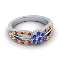 Simple Floral Pave Kalikda Blue Sapphire Ring with Citrine and Ruby in 14k White Gold