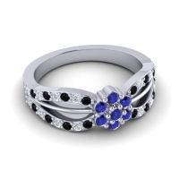 Simple Floral Pave Kalikda Blue Sapphire Ring with Diamond and Black Onyx in 18k White Gold