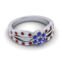 Simple Floral Pave Kalikda Blue Sapphire Ring with Diamond and Garnet in Platinum