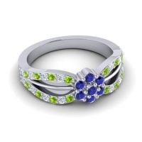 Simple Floral Pave Kalikda Blue Sapphire Ring with Diamond and Peridot in Platinum