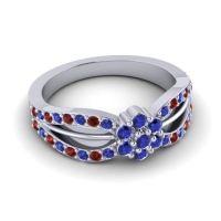 Simple Floral Pave Kalikda Blue Sapphire Ring with Garnet in Palladium