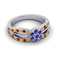 Simple Floral Pave Kalikda Blue Sapphire Ring with Garnet and Citrine in 18k White Gold