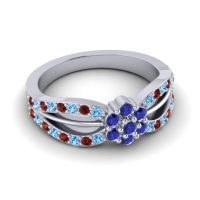 Simple Floral Pave Kalikda Blue Sapphire Ring with Garnet and Swiss Blue Topaz in Platinum