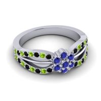 Simple Floral Pave Kalikda Blue Sapphire Ring with Peridot and Black Onyx in Palladium