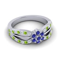 Simple Floral Pave Kalikda Blue Sapphire Ring with Peridot and Diamond in 18k White Gold