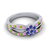 Simple Floral Pave Kalikda Blue Sapphire Ring with Peridot and Pink Tourmaline in Platinum