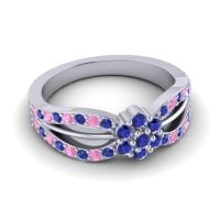 Simple Floral Pave Kalikda Blue Sapphire Ring with Pink Tourmaline in Platinum