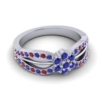 Simple Floral Pave Kalikda Blue Sapphire Ring with Ruby in 14k White Gold