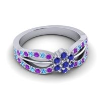 Simple Floral Pave Kalikda Blue Sapphire Ring with Swiss Blue Topaz and Amethyst in 14k White Gold