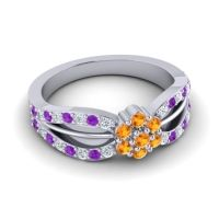 Simple Floral Pave Kalikda Citrine Ring with Amethyst and Diamond in 18k White Gold