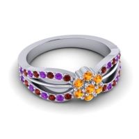 Simple Floral Pave Kalikda Citrine Ring with Amethyst and Garnet in 18k White Gold