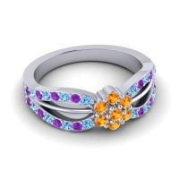 Simple Floral Pave Kalikda Citrine Ring with Amethyst and Swiss Blue Topaz in 18k White Gold