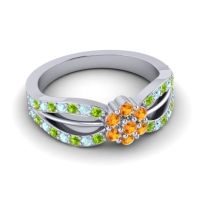 Simple Floral Pave Kalikda Citrine Ring with Aquamarine and Peridot in 18k White Gold