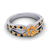 Simple Floral Pave Kalikda Citrine Ring with Black Onyx in Palladium