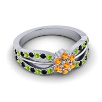 Simple Floral Pave Kalikda Citrine Ring with Black Onyx and Peridot in 14k White Gold
